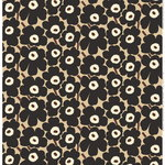 Pieni Unikko fabric, beige - dark grey - brown