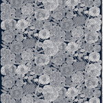 Mynsteri fabric, dark blue - off white