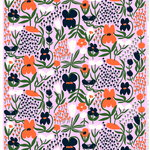 Palsta fabric, lilac - orange - dark blue