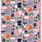 Marimekko Palsta kangas, liila-oranssi-tummansininen