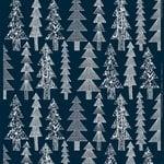 Marimekko Kuusikossa cotton panama fabric, dark blue - white