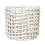 Ceramic basket, large, off-white