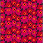 Pieni Unikko 2 fabric, red - orange - plum