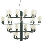 Amp chandelier, large, gold-green