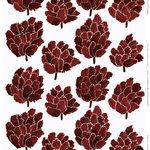 Käpykukka cotton-linen fabric, light grey - wine red