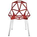 Chair One, red, polished aluminium legs