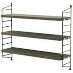 String Pocket shelf, FDS 15 Years, grey oak - raw metal