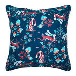 Rabbit cushion cover, linen, blue