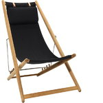 H55 easy chair, teak - black Sunbrella