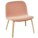 Visu lounge chair, upholstered, oak - coral