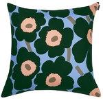 Pieni Unikko cushion cover, light blue ? peach