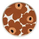 Oiva - Unikko plate 20 cm, white - brown - black