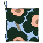 Pieni Unikko pot holder, light blue - peach