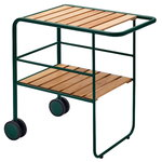 Fuori serving trolley, green - teak