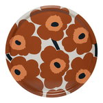 Pieni Unikko tray, white-chestnut-melon-navy blue