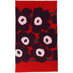 Unikko honeycomb bath towel, red - purple - pink