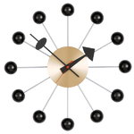 Ball Clock, black - brass