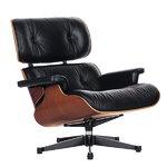 Lounge Chair nojatuoli, kirsikka - musta nahka