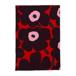 Pieni Unikko honeycomb hand towel, red - purple - pink