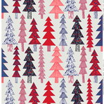 Kuusikossa fabric, light grey - red - blue