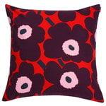 Pieni Unikko cushion cover 50 x 50 cm, red - purple - pink