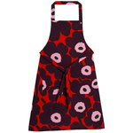 Pieni Unikko apron, red - purple - pink