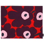 Pieni Unikko coated cotton placemat, red - purple - pink