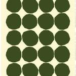 Tessuto in lino Kivet, écru - verde scuro