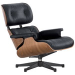 Eames Lounge Chair, dimensioni classic, noce - pelle nera