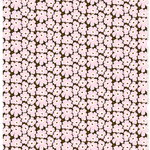 Mini Unikko fabric, dark green - light pink - brown