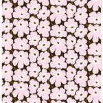 Pieni Unikko fabric, dark green - light pink - brown