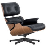 Eames Lounge Chair, new size, walnut - black Premium F leather