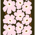 Unikko fabric, dark green - light pink - brown