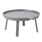 Around coffee table, large, dark grey