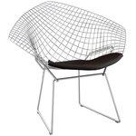 Bertoia Diamond tuoli, satiinikromi - musta istuintyyny