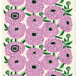 Primavera fabric, off white - violet - green