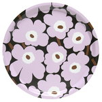 Mini Unikko tray, dark green - light pink - brown