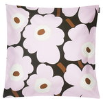 Pieni Unikko cushion cover 45x45cm, dark green-light pink-brown