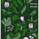 Marimekko Kasvio fabric, green - lilac