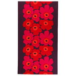 Unikko table cloth, red-orange-plum
