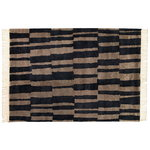 Pilari rug, bamboo - wool, carbon - brown