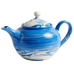 Marbled teapot, blue