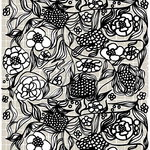 Floristi coated cotton fabric, light grey - black - white