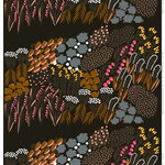 Letto coated fabric,  dark green - brown - peach