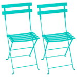 Bistro metal chair, 2 pcs, lagoon blue