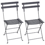 Bistro metal chair, 2 pcs, anthracite