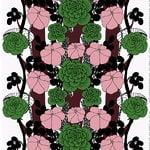 Unelma fabric, rosa-green