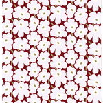 Pieni Unikko fabric, dark red - light grey - off white