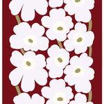 Unikko puuvillasatiini, t.punainen - v.harmaa - l.valkoinen