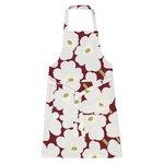 Pieni Unikko apron, dark red - light grey - off white